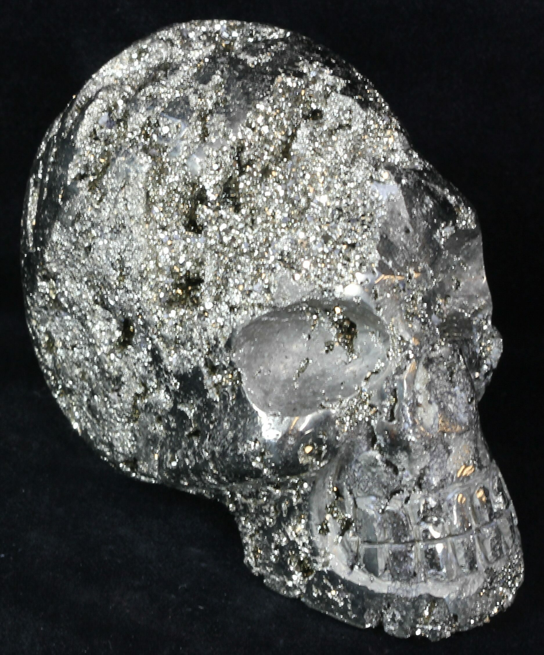 """3.8"""" Polished Pyrite Skull With Druzy Crystals - Peru For ..."""