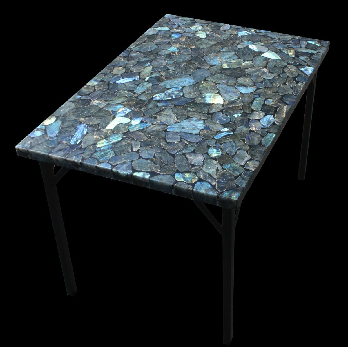 36 X 24 Labradorite Coffee Table With Powder Coated Base For Sale 52938