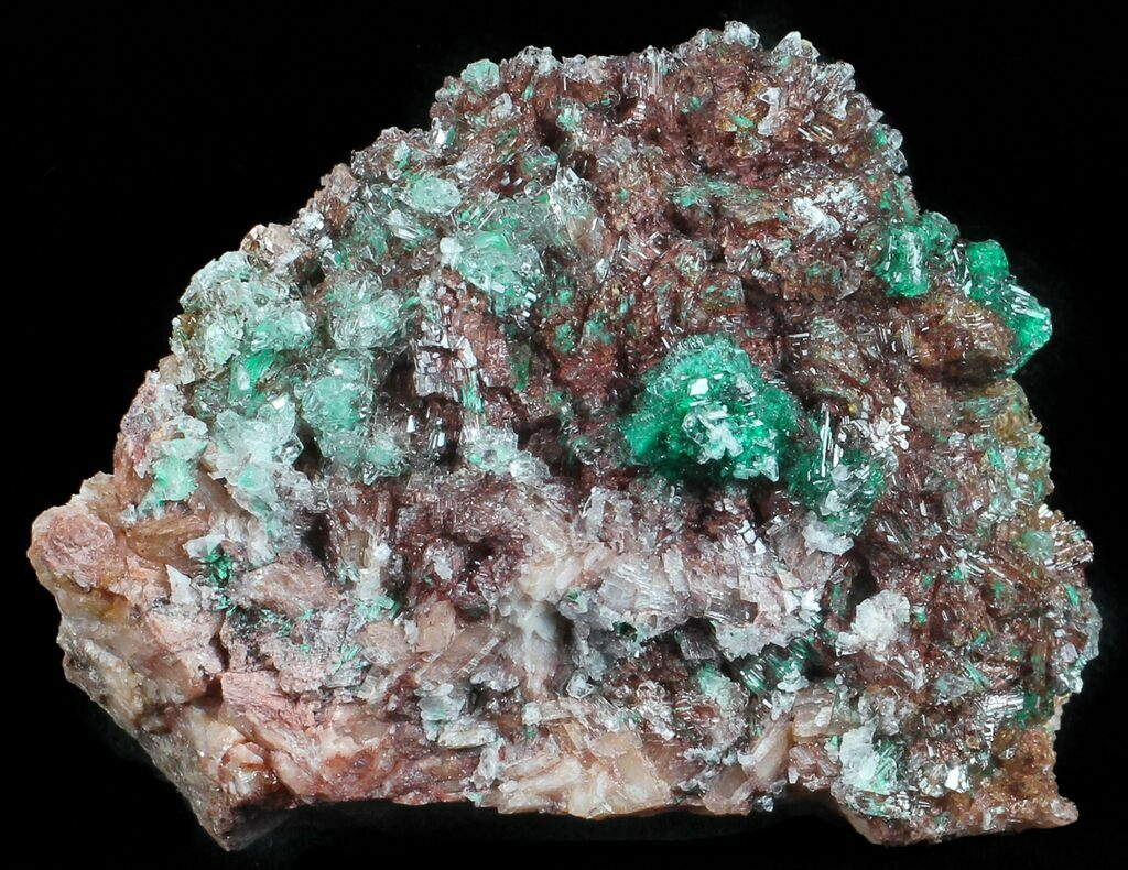 Rosasite Crystal Rosasite Cluster Green Rosasite Rosasite on Selenite and Dolomite Crystals Morocco