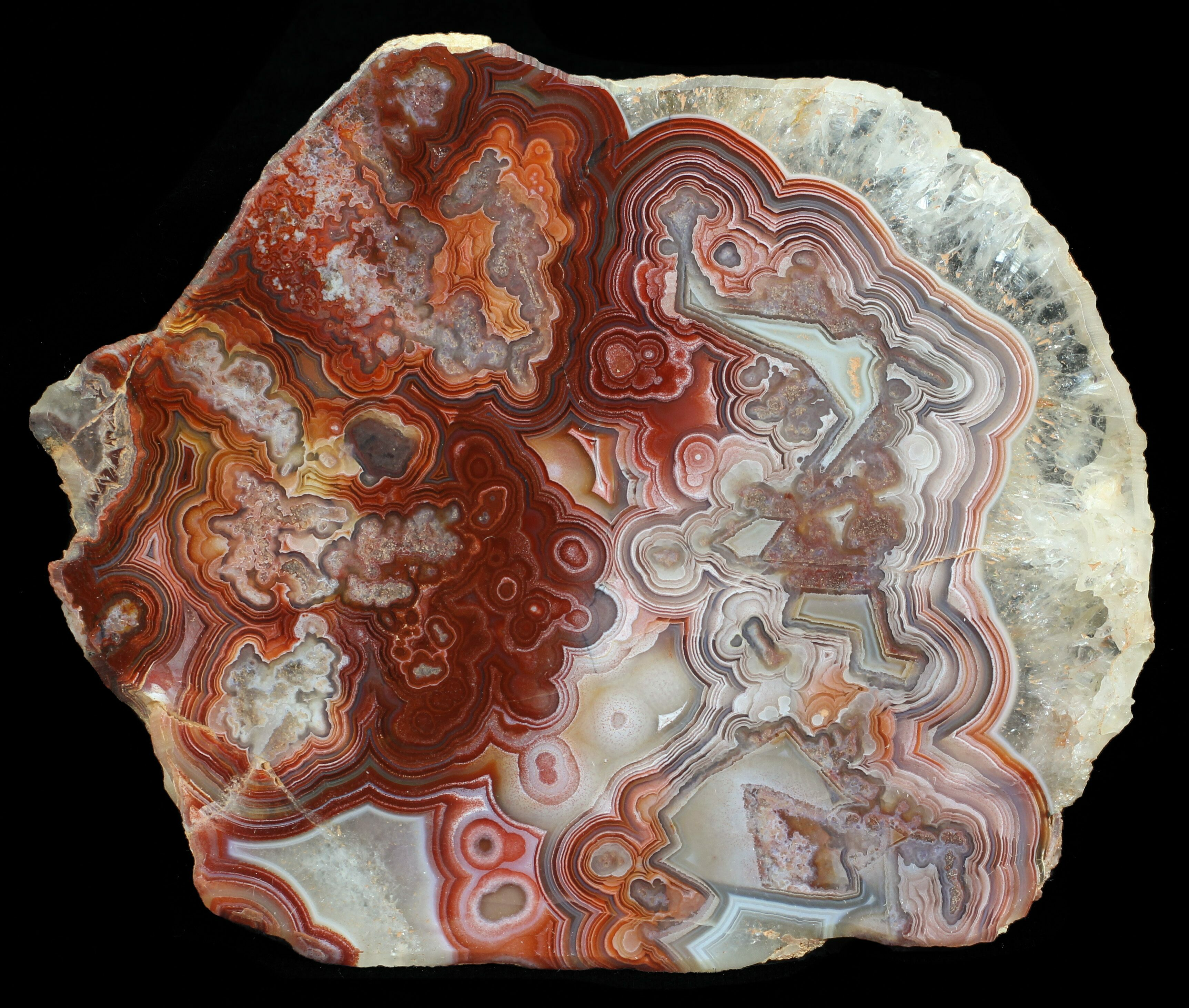 "3.3"" Polished, Red Crazy Lace Agate Slab - Mexico For Sale"