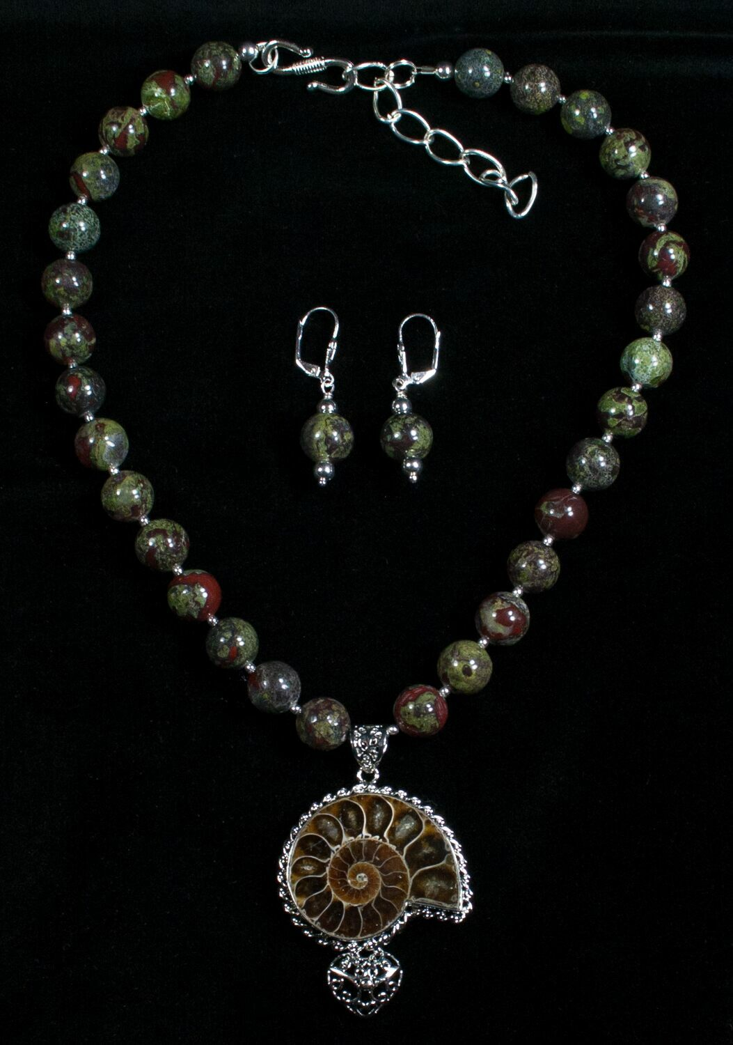 Ammonite bloodstone necklace earring set for sale 5218 ammonite bloodstone necklace earring set mozeypictures Images