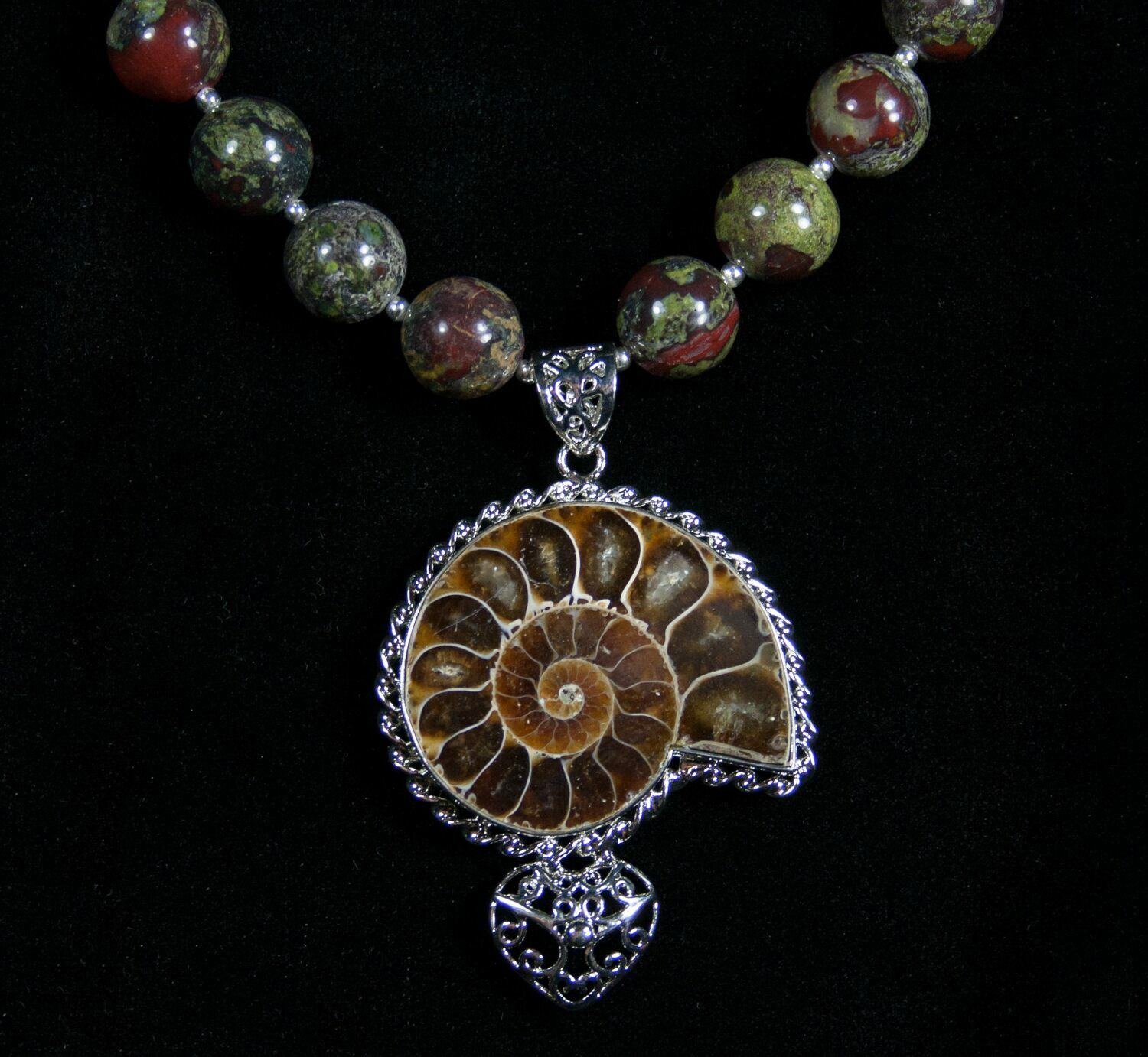 Ammonite bloodstone necklace earring set for sale 5218 ammonite bloodstone necklace earring set 5218 2 mozeypictures Image collections