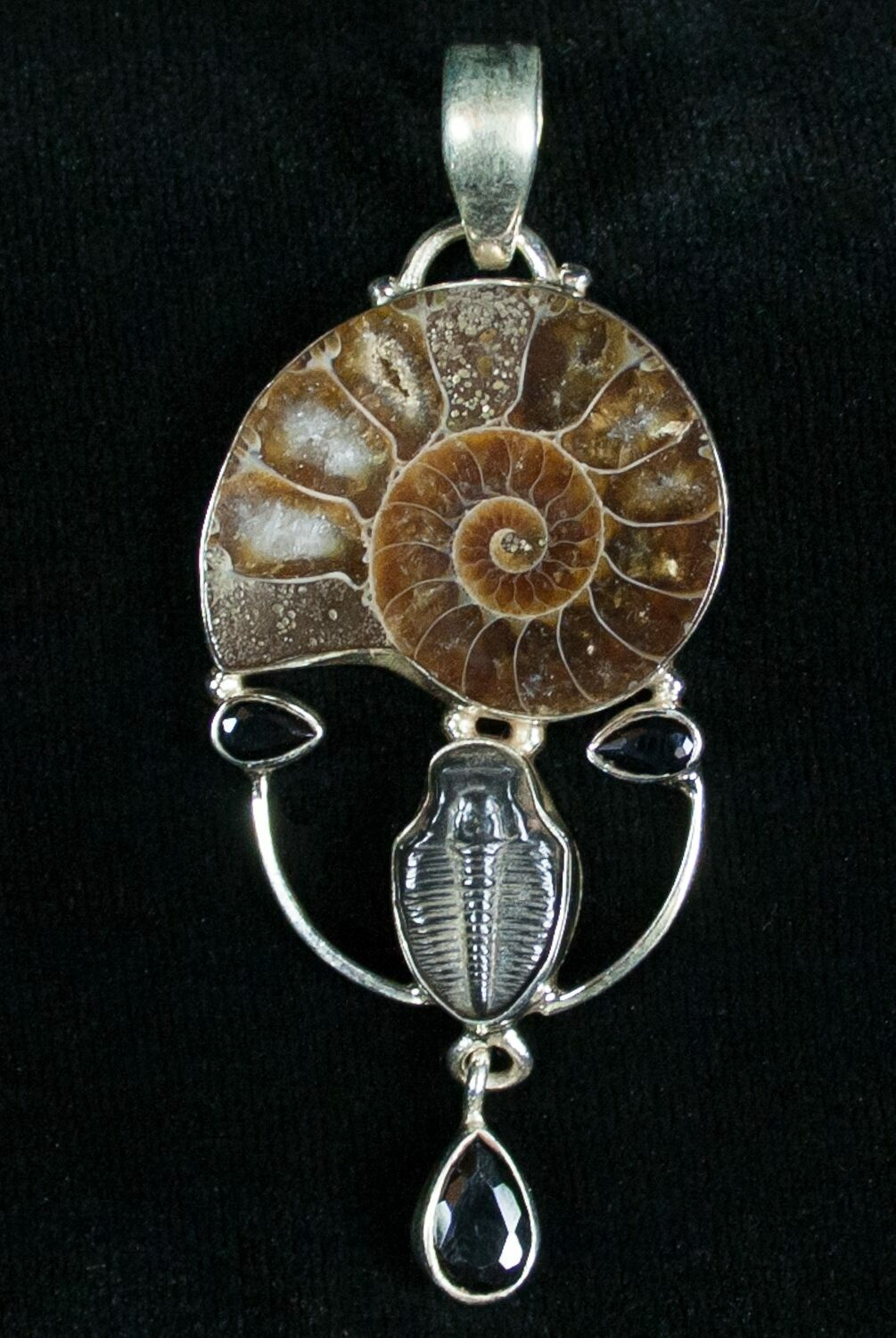 Ammonite trilobite pendant sterling silver for sale 7047 ammonite trilobite pendant sterling silver mozeypictures Image collections